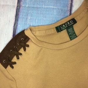 Ralph Lauren Tops - Ralph Lauren Tan Ribbed Knit Faux Suede Top M